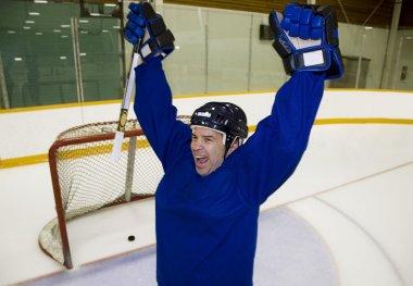 Hockey Player Celebrating A Goal