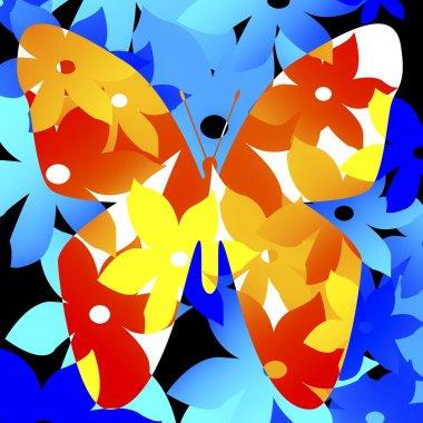Floral Pattern In Shape Of Butterfly