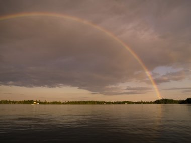 Lake Of The Woods, Ontario, Canada, Rainbow Over The Lake