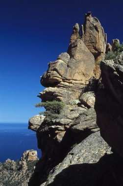 Corsica, France. Rock Formation On A Mountain Above The Sea