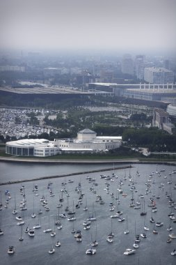 Aerial View Of Chicago And Harbor
