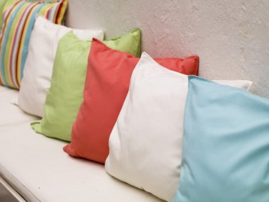 Pillows On A Bench, Mykonos, Greece