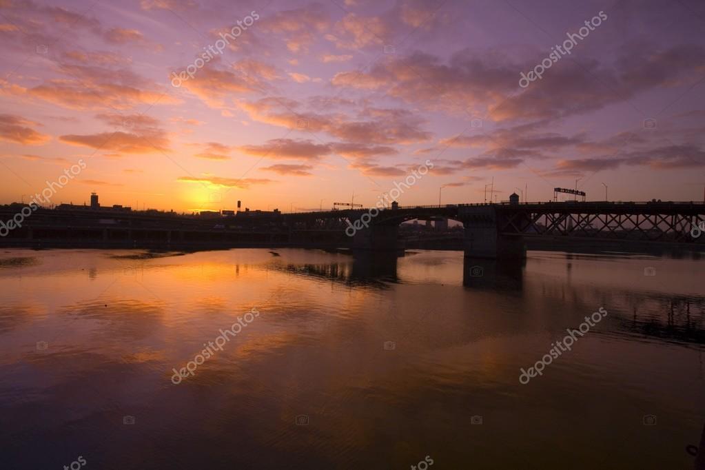 Sunrise Over Burnside Bridge, Portland, Oregon, USA