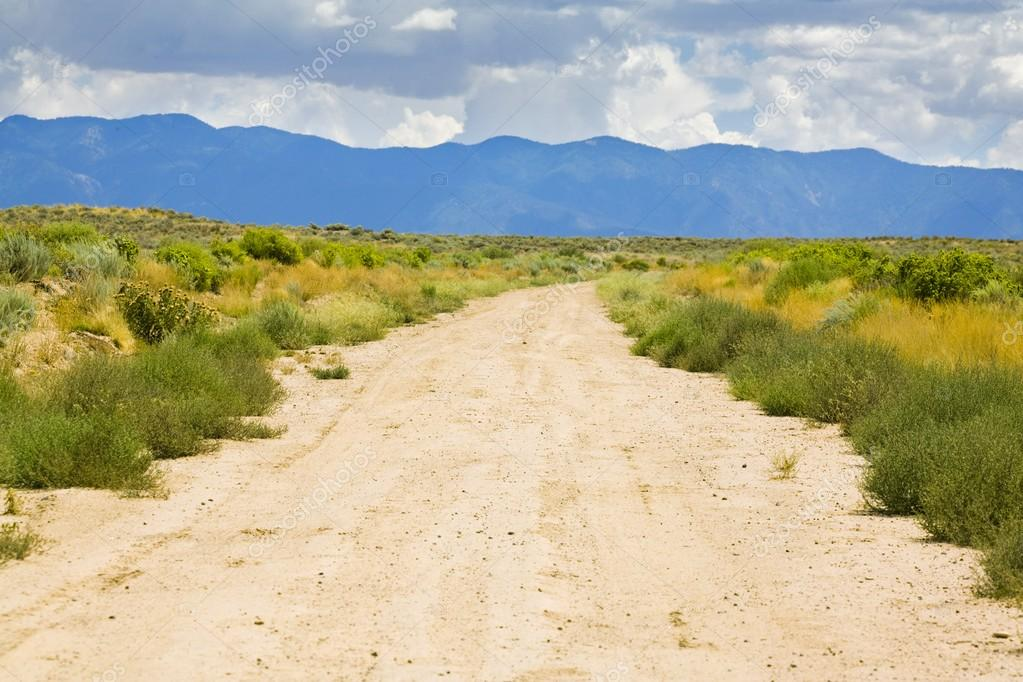 New Mexico, USA. Desert Trail With Mountains In The Distance