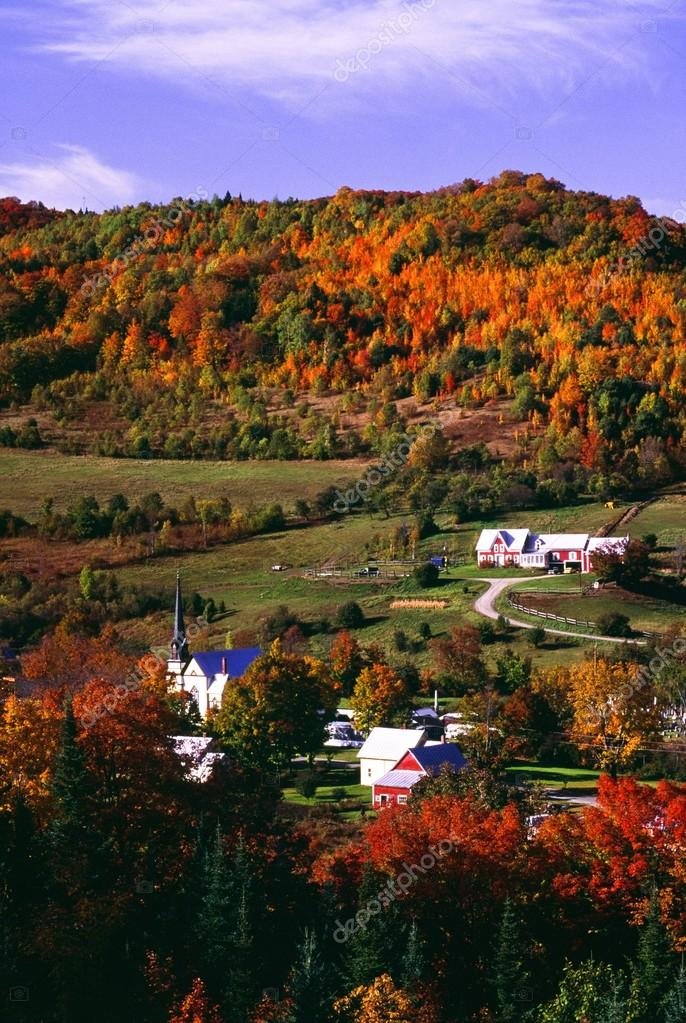 East Orange Village In Fall, Vermont, New England, U.S.A.
