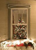 Zobrazit přes okno strom Vánoční dekorace a osvětlení