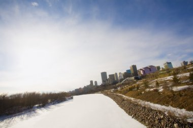 North Saskatchewan River Frozen And Snow-Covered, Edmonton, Alberta, Canada