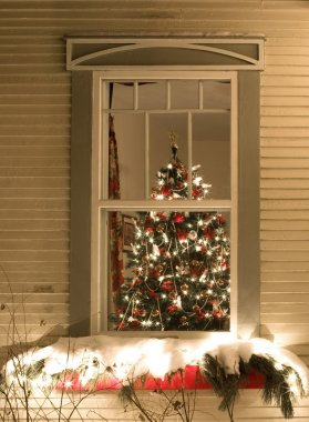 View Through A Window Of A Christmas Tree Covered In Decorations And Lights
