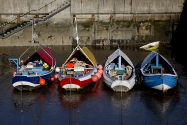 Boats Moored To Dock, Amble, Northumberland, England