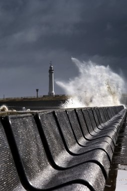 Waves Crushing Against Barrier, Sunderland, Tyne And Wear, England