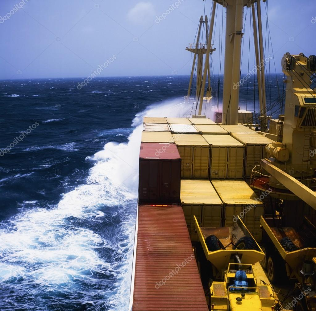 Shipping, Container Ship In Storm