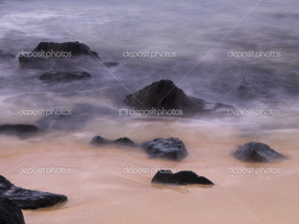 Rocks In The Water And On The Beach, Poipu, Kauai, Hawaii