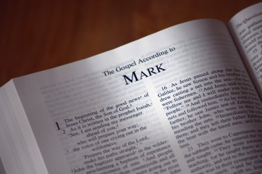 Bible Opened To The Book Of Mark