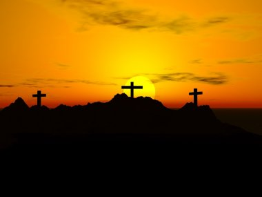 Three Crosses In The Sunset