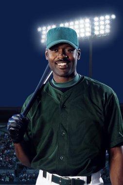 Baseball Player With Bat On Shoulder