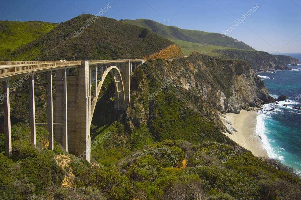 Bridge On Highway 1 Along The Pacific Ocean Near Big Sur