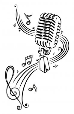 Microphone with music notes and clef