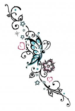 Flowers, butterfly, floral element