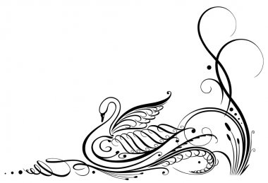 Calligraphy, vintage, swan