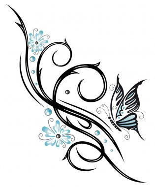 Tribal, butterfly, floral