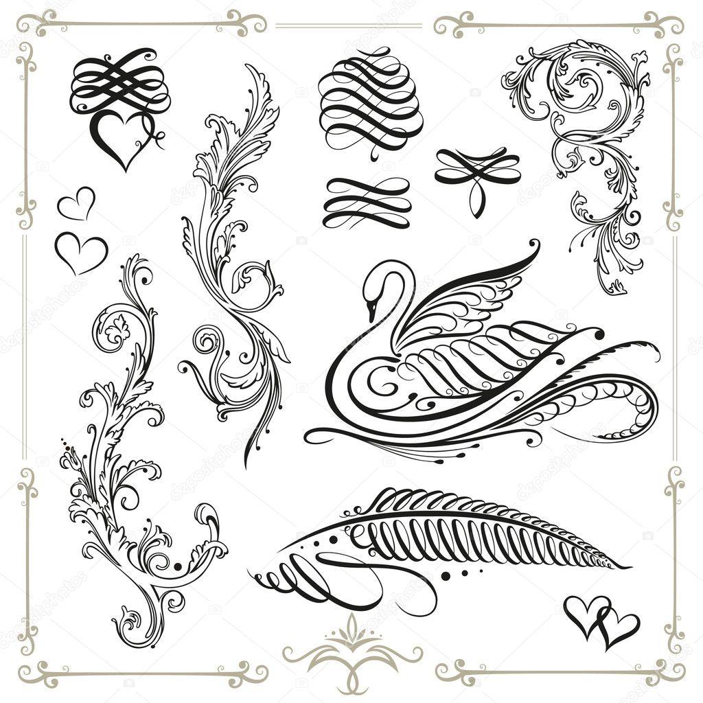 d coration vintage calligraphie image vectorielle