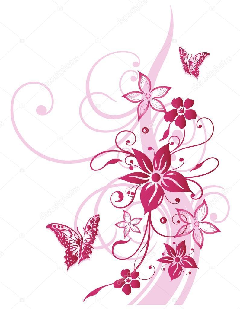 flowers butterflies pink u2014 stock vector christine krahl 31462133