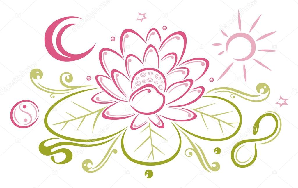 Lotus, flowers, sun, moon