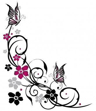 Abstract, flowers, butterfly