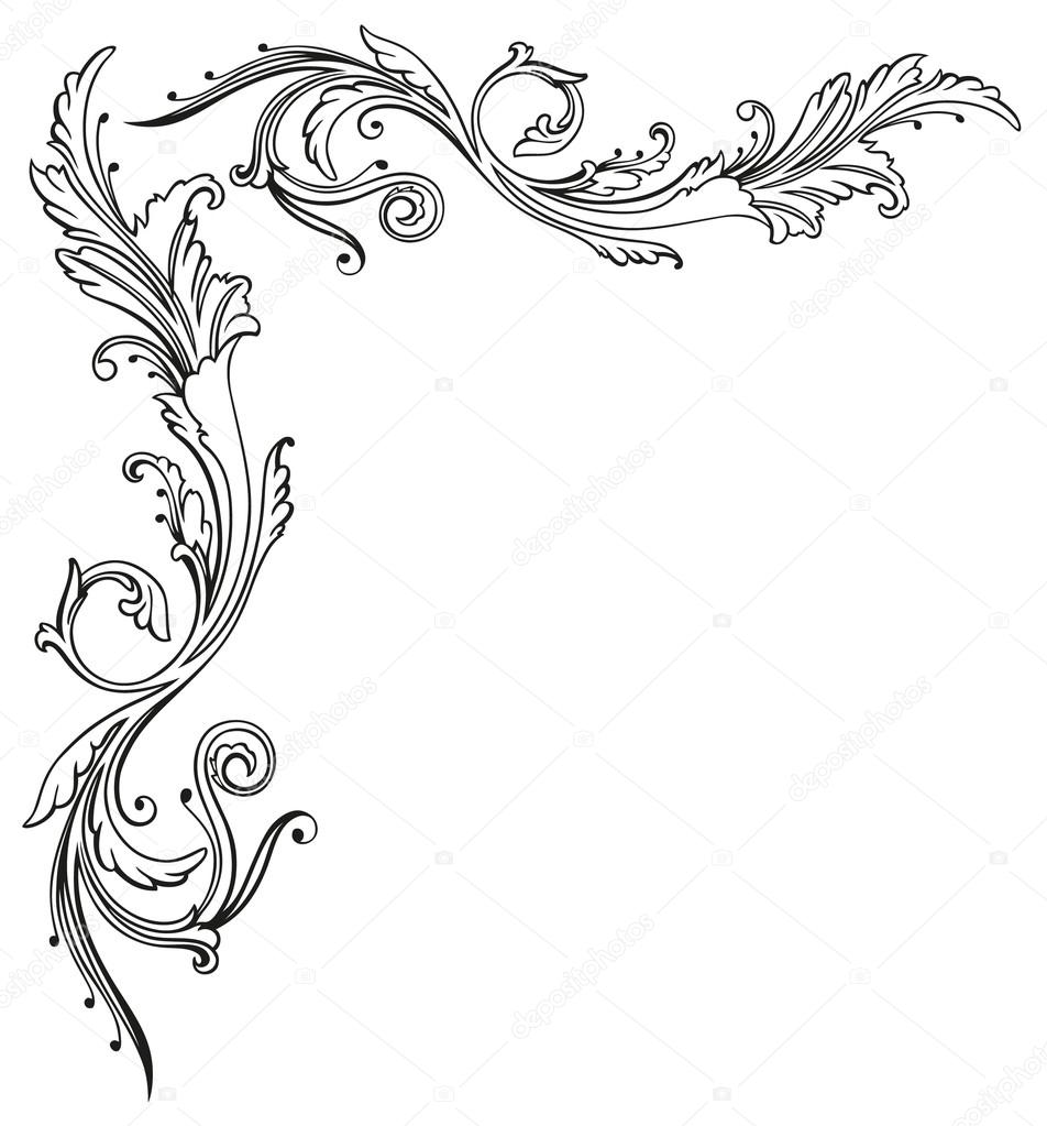 Vintage Tendril Floral And Filigree Border Abstract Decoration Vector By Christine Krahl