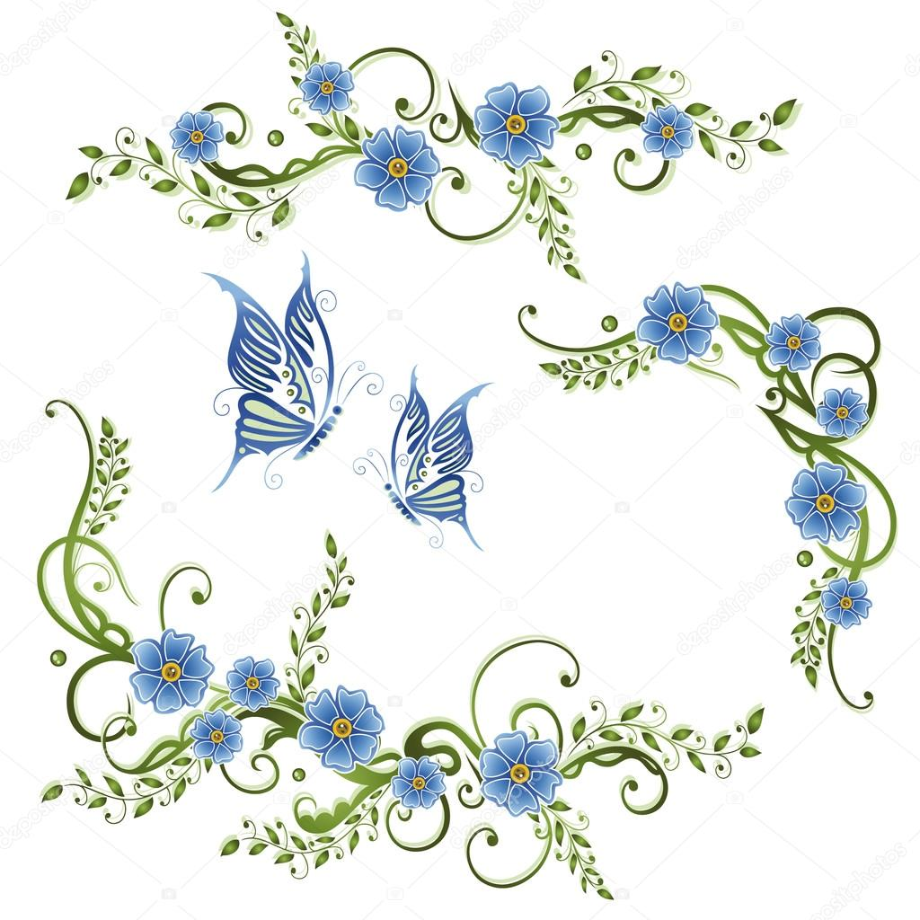 forget me not flowers with butterflies stock vector. Black Bedroom Furniture Sets. Home Design Ideas