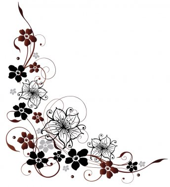 Beautiful lilies and abstract flowers, border stock vector
