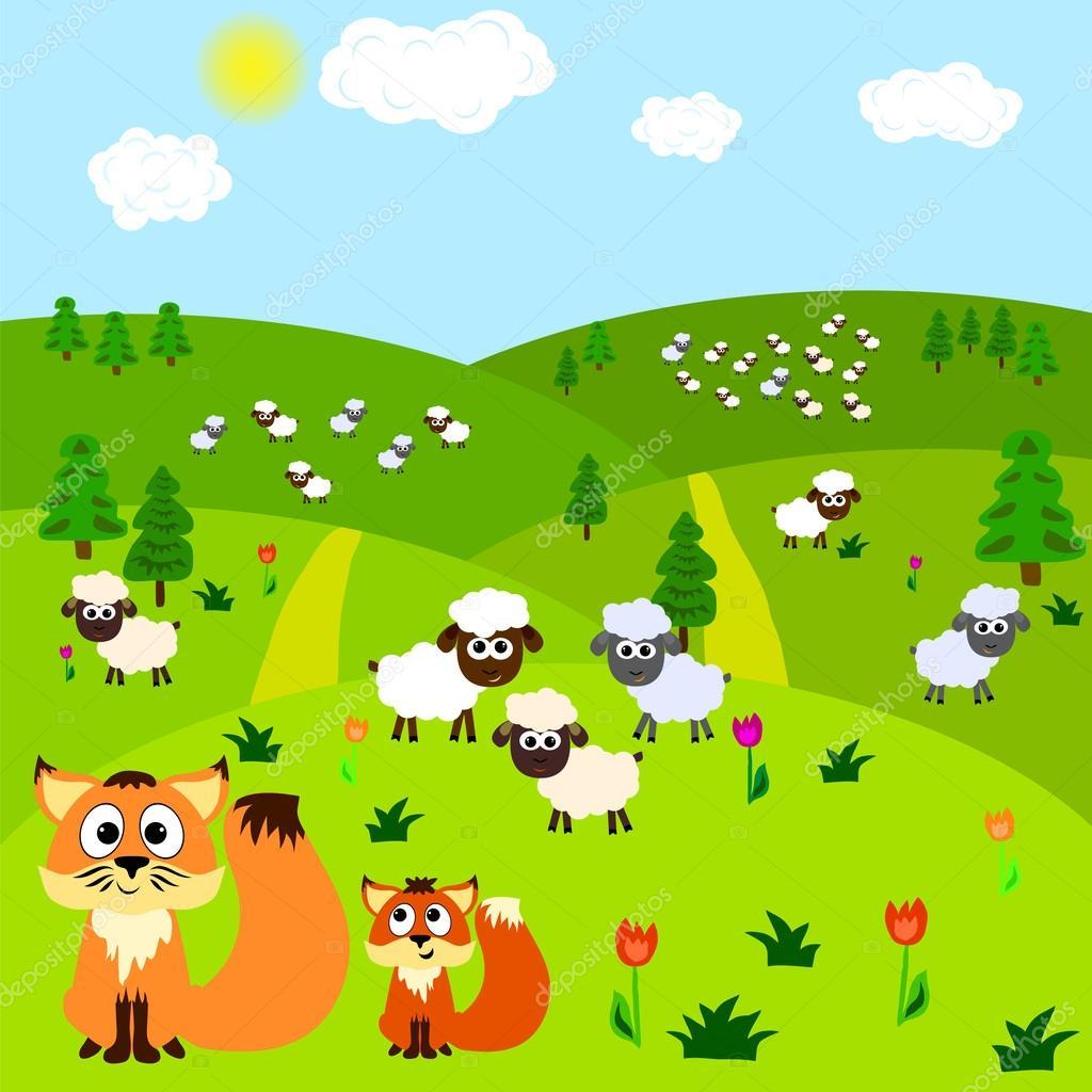 Fox Ve Koyunlar çizgi Film Arka Plan Stok Vektör Saenal78 37951581
