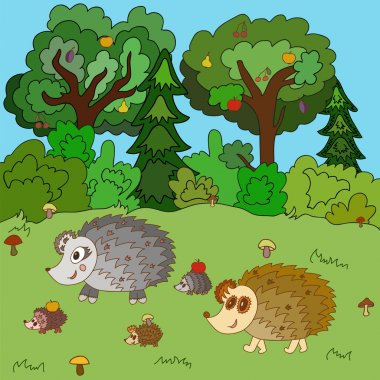 Family of hedgehogs walk on a forest glade