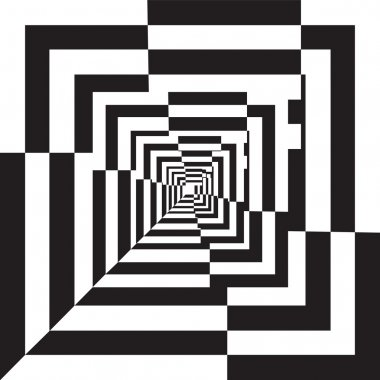 A black and white relief tunnel. Optical illusion illustration.