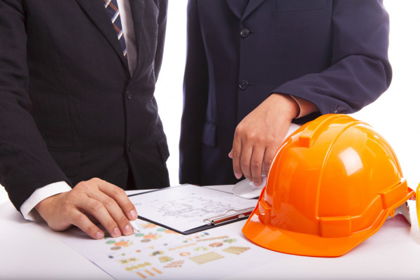 Construction engineers view project