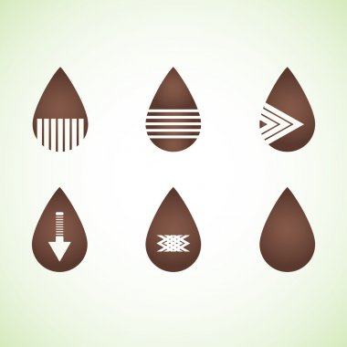 Six brown abstract drops eps10