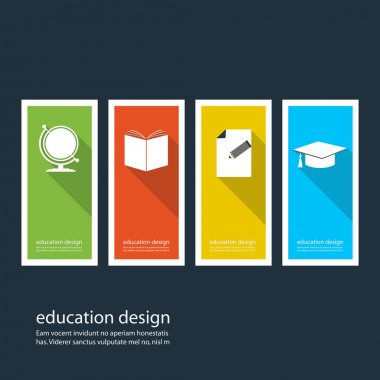 Four colored icons depicting items for education. Vector design eps10