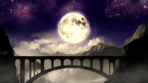 noční vlak na mostě hora