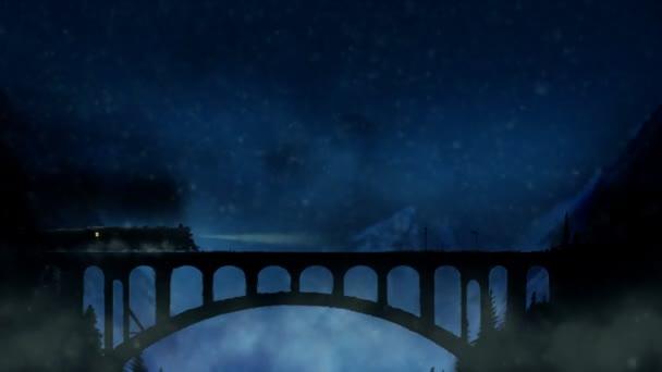 Vlak přejíždí most hora v zasněžené noci
