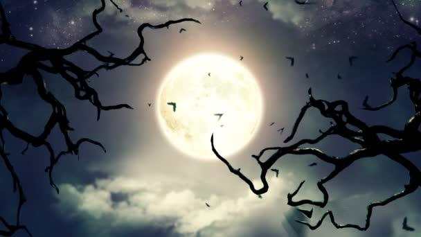 Repülő denevérek fényében kísérteties Hold Hd