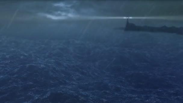 mořské bouře a maják hd 1080p smyčka