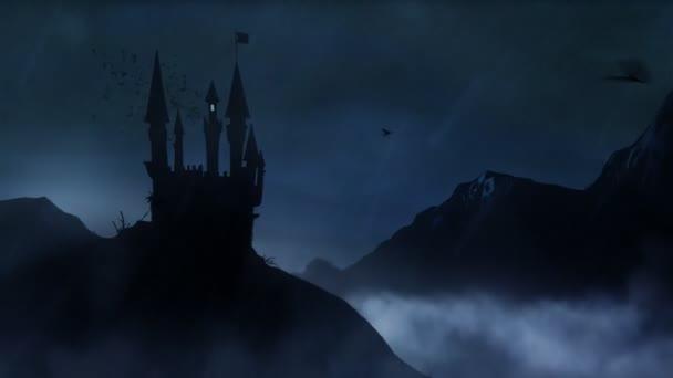 Castello spettrale nella tempesta con ciclo di pipistrelli Hd