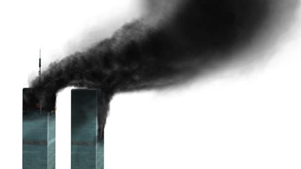 Burning WTC buildings loop alpha channel