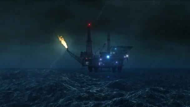 Oil platform in the storm - loop