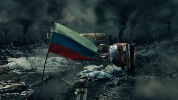 Post apocalyptic scene - Russian flag