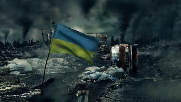 Post apocalyptic scene - Ukrainian flag