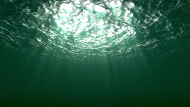 Underwater surface with rays of Light and plancton