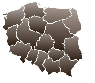 Map of Poland in a brown color isolated on a white background with 16 voivodeships.