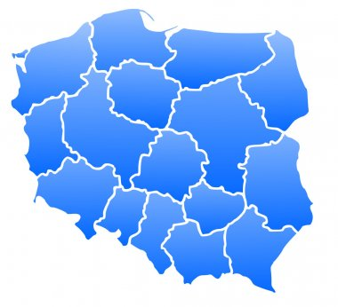Map of Poland in a blue color isolated on a white background with 16 voivodeships.
