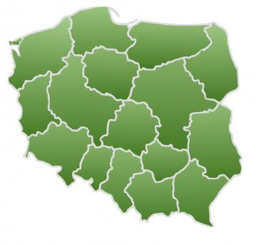 Map of Poland in a green color isolated on a white background with 16 voivodeships.